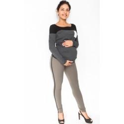 Těhotenské kalhoty s lampasem - khaki