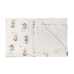 Dětská deka, dečka Prima Ballerina, 75x90 - Minky/bavlna, bílá