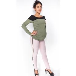 Těhotenské kalhoty s lampasem - sv. růžové