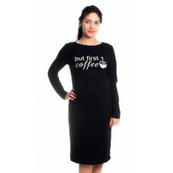Těhotenská, kojící noční košile But First Coffee - černá