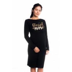 Těhotenská, kojící noční košile Blessed Mama - černá