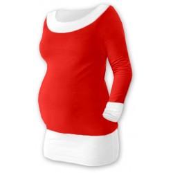 Těhotenska tunika DUO - červená/bílá