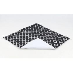 Hrací, přebalovací podložka 120x120cm - černá/ornamenty-bílá