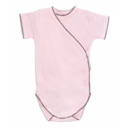 Mamatti Kojenecké body krátký rukáv Bow - zapínání bokem, světle růžové