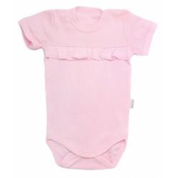 Mamatti Kojenecké body krátký rukáv Bow - světle růžové