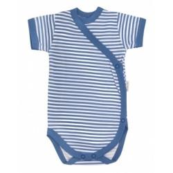 Mamatti Kojenecké body krátký rukáv World - zapínáním bokem - modré proužky