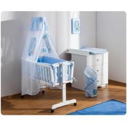 Dřevěná kolébka s plnou výbavou Sweet Dreams by Teddy - modrá