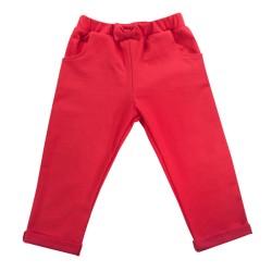 Bavlněné tepláčky s mašličkou a kapsami Baletka, červené