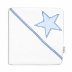 Baby Nellys Dětská termoosuška Baby Stars s kapucí, 80 x 80 cm - bílá/modrá