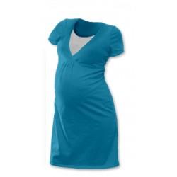 Těhotenská, kojící noční košile JOHANKA krátký rukáv - petrolejová