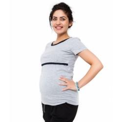Těhotenské a kojící triko Aldona - světle šedá