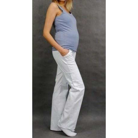 Těhotenské kalhoty s boční kapsou - bílá