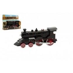 Lokomotiva/Vlak plast/kov 15cm na baterie se zvukem se světlem v krabičce CZ design