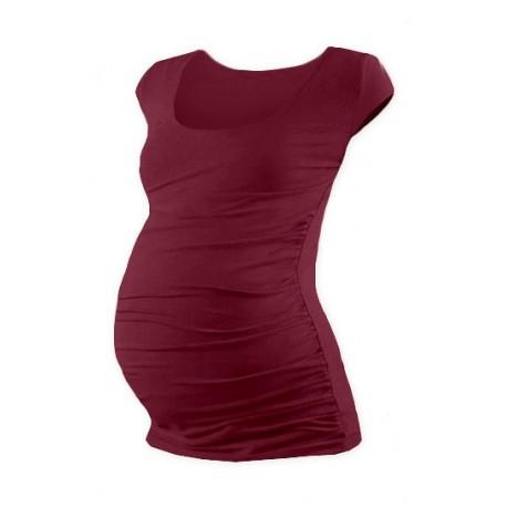 Těhotenské triko mini rukáv JOHANKA - bordo