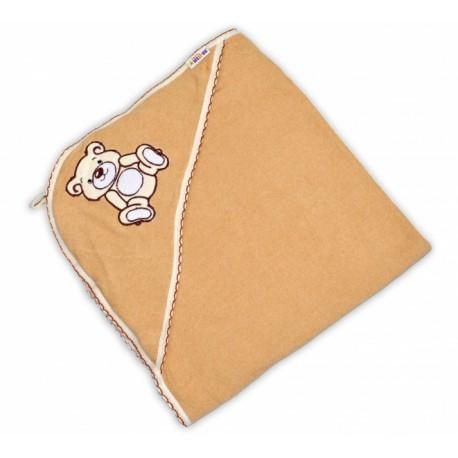 Dětská osuška TEDDY BEAR Baby Nellys s kapucí - hnědá
