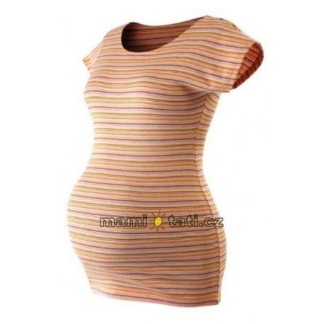 Těhotenské triko krátký rukáv PROUŽEK - oranžová