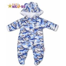 Kombinézka s kapuci a oušky ARMY Baby Nellys ® maskačové