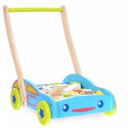 Dřevěný vozík s dřevěnými kostkami ECO TOYS - Autíčko