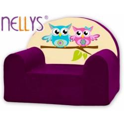 Dětské křesílko/pohovečka Nellys ® - Sovičky Nellys fialové
