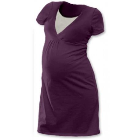 Těhotenská, kojící noční košile JOHANKA krátký rukáv - švestková
