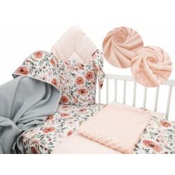 Baby Nellys 6-ti dílná výhodná sada pro miminko s dárkem,120 x 90 cm - Begónie, meruňka, š