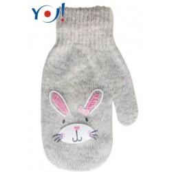 Kojenecké dívčí akrylové  rukavičky YO -sv. šedé