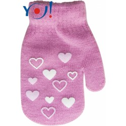 Kojenecké dívčí akrylové  rukavičky YO - růžové