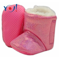 Zimní botičky/capáčky s kožíškem YO! - lesklé - růžové