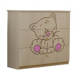 Dětská komoda - Kočička růžová