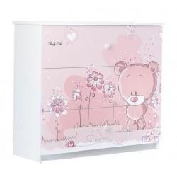 Dětská komoda - Medvídek STYDLÍN růžový