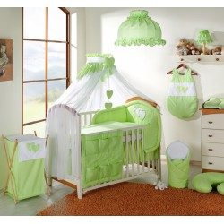 Luxusní mega set s moskytiérou - Srdíčko zelené
