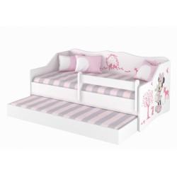 BabyBoo Dětská postel LULU 160 x 80 cm - bílá Minnie Zvířátka