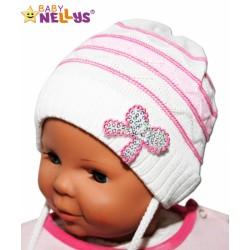 Čepička Proužek Baby Nellys ® na zavazování - bílá