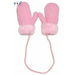 Zimní kojenecké  rukavičky s kožíškem - se šňůrkou  YO - sv. růžové/růžový kožíšek