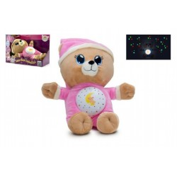Medvídek Usínáček růžový plyš  32cm na baterie se světlem a zvukem v boxu 12m+