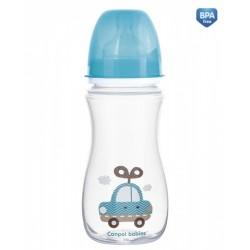 Antikoliková lahvička se širokým hrdlem Canpol Babies Easy Start - TOYS 300 ml - modrá