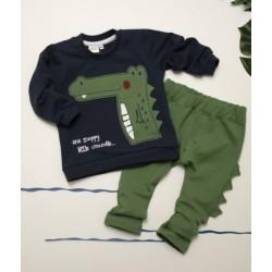 K-Baby Sada mikinka + tepláčky, Krokodýl - tm. modrá/zelená