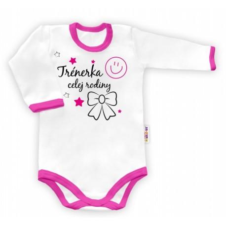 03d8ea53c09e Body dlouhý rukáv Trenérka celej rodiny - bílé růžový lem - Bezpečné ...