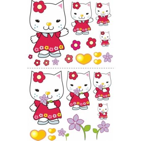 Nástěnná dekorace Kočička s kytičkou