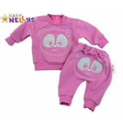 Tepláková souprava Baby Nellys - Medvídek - růžový melír