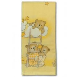 Flanelová plena s potiskem New Baby béžová s medvědem na žebříku