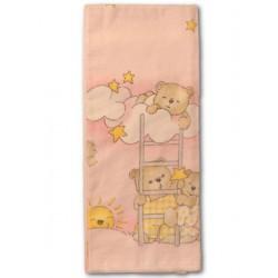 Flanelová plena s potiskem New Baby růžová s medvědem na  žebříku