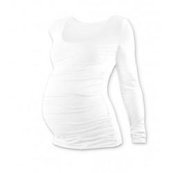Těhotenské triko JOHANKA s dlouhým rukávem - bílá