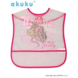 Dětský bryndák s kapsičkou Akuku, Růžová