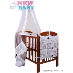 7-dílné ložní povlečení New Baby 90/120 cm  + držák na nebesa Ovečky bílé