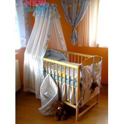 7-dílné ložní povlečení 90/120 cm  + držák na nebesa New Baby modré s medvídkem