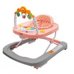 Dětské chodítko se silikonovými kolečky New Baby Forest Kingdom Pink, Růžová