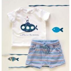K-Baby 2 dílná dětská sada, triko s kraťasky For Boy - proužky modré, zelené