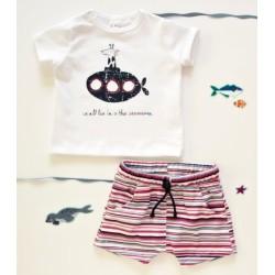 K-Baby 2 dílná dětská sada, triko s kraťasky For Boy - proužky červené, modré