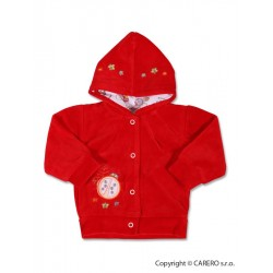 Semišková mikinka s kapucí, Červená, 74 (6-9m)